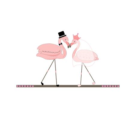 Illustration pour Flamingos. Bride groom. Wedding invitation - image libre de droit