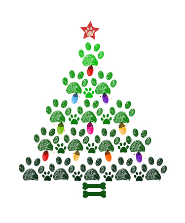 Illustration for Christmas tree New year greeting card - Royalty Free Image