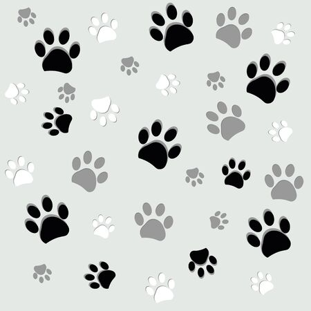 Illustration for Black and white paw print with gray background - Royalty Free Image