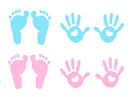 Illustration for Baby hand and foot print vector - Royalty Free Image