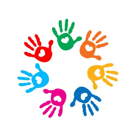 Illustration pour Hand prints with hearts. Full of Love icon vector illustration - image libre de droit