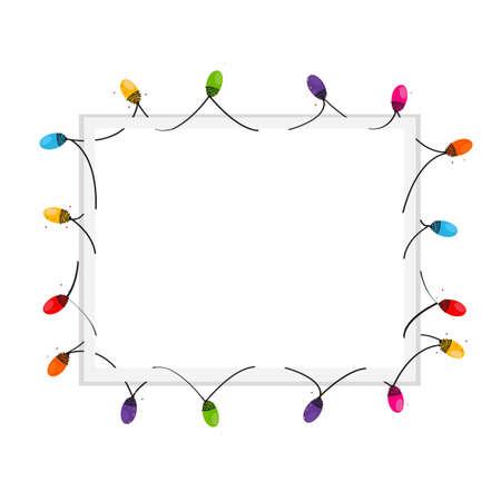Illustration pour Colorful Christmas Light Bulb blank frame vector background - image libre de droit
