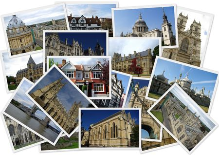 Traveling around England in collage with several shots on white background