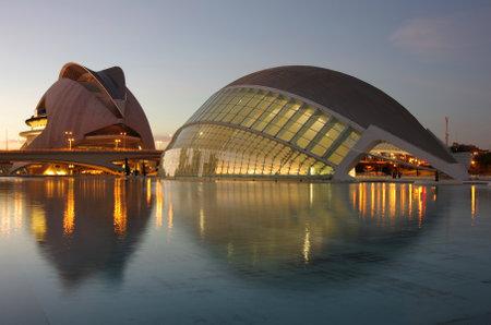 VALENCIA, SPAIN - OCTOBER 07, 2014: El Palau de les Arts Reina Sofia and  L'Hemisferic in the City of Arts and Sciences (Ciudad de las artes y las ciencias) in Valencia, Spain