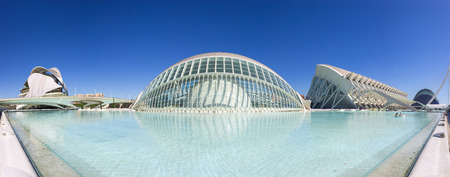 VALENCIA, SPAIN - OCTOBER 08, 2014: Panoramic view of the buildings in the City of Arts and Sciences (Ciudad de las artes y las ciencias) in Valencia, Spain