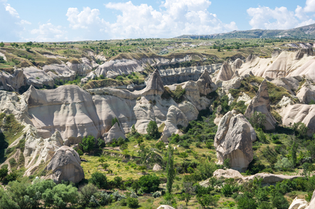 View on stone formations in Cappadocia, Central Anatolia,Turkey