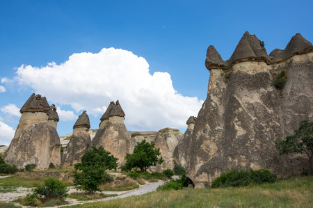 Stone formations at Pashabag Valley in Cappadocia, Turkey