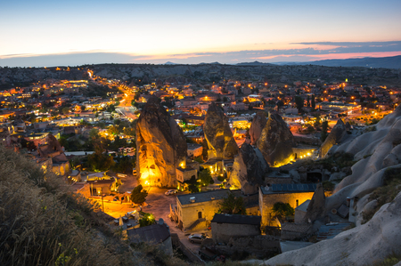 Goreme town on sunset in Cappadocia, Central Anatolia,Turkey