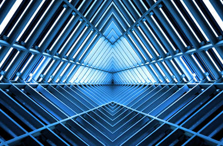 metal structure similar to spaceship interior in blue light