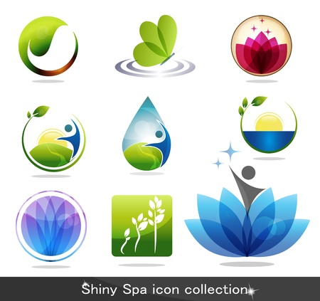 Beautiful spa icon collection, butterfly, flowers, foliage, drop and plant. Beautiful harmonic colors, can be used as company logo.