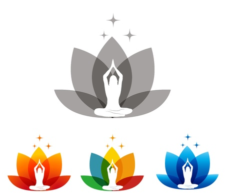 Lotus flower and woman in yoga pose