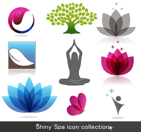 Illustration for Spa icon collection, beautiful bright colors - Royalty Free Image