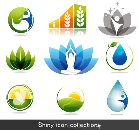 Ilustración de Beautiful nature and health icon collection - Imagen libre de derechos