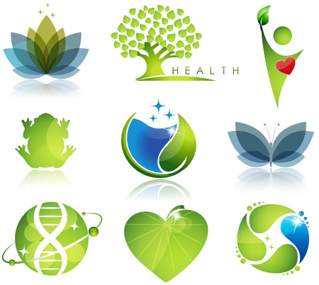 Stunning health-care and ecology symbols  Beautiful harmonic colors