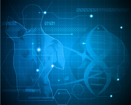 Ilustración de Abstract medicine background. Human back, spine and gene chain. Can be used in the medical, genetic, pharmaceutical, science industries. Beautiful blue color. - Imagen libre de derechos
