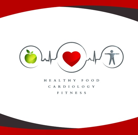 Photo for Wellness symbol. Healthy food and fitness leads to healthy heart and life. White background. - Royalty Free Image