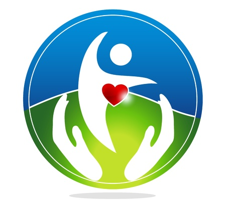 Photo for Healthy human and healthy heart symbol. The heart shape symbolizes healthy heart beating and healthy blood circulation system. Hands symbolizes the healing and protection of human health. - Royalty Free Image