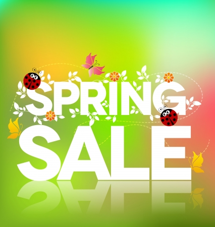 Spring sale poster design  Beautiful colorful illustration, green leaves, ladybugs and butterflies  Bold and bright