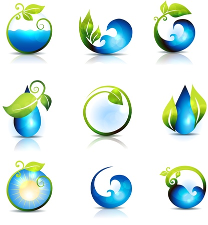 Amazing nature symbols  Water, leafs, waves and sun  Clean and fresh feeling  Can be used also in health care industry
