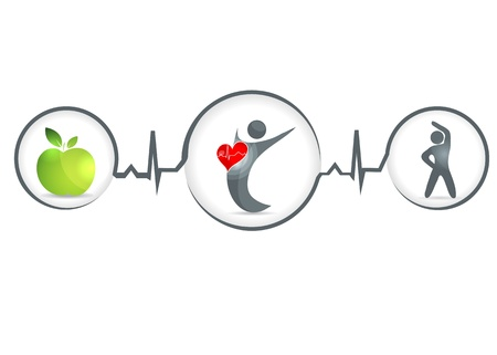 Wellness and healthy heart symbol  Healthy food and fitness leads to healthy heart and life
