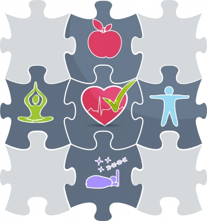 Photo for Health care puzzle  Healthy lifestyle conceptual illustration   Good sleep, fitness, healthy food, stress management leads to healthy heart and healthy life  - Royalty Free Image