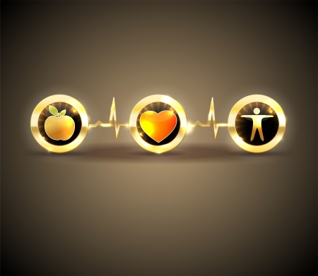 Heart health care symbols  Healthy food and fitness leads to healthy heart and life  Symbols connected with heart rate monitoring line  Bright and bold design