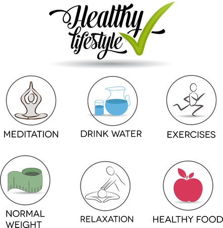 Healthy lifestyle symbol collection Healthy food, exercises, normal weight, drinking water, relaxation and meditation  Isolated on a white background