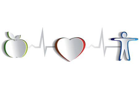 Healthy lifestyle symbol collection  Paper looking design   Healthy food and fitness leads to healthy heart and life  Symbols connected with heart rate monitoring line  Isolated on a white background