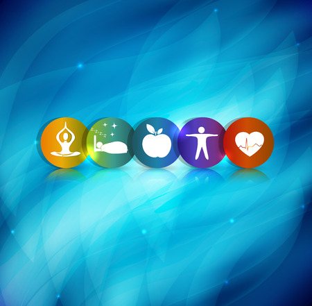 Foto de Healthy lifestyle symbol background. Healthy food and fitness leads to healthy heart. Beautiful blue abstract background. - Imagen libre de derechos