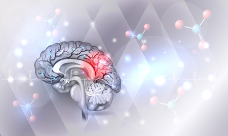 Illustration pour Human brain abstract light grey abstract background with glow - image libre de droit