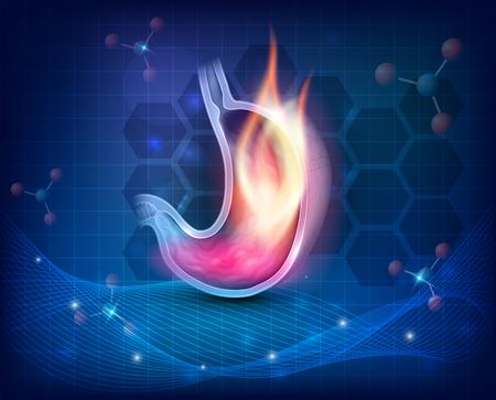 Ilustración de Stomach burning on a dark blue scientific background - Imagen libre de derechos