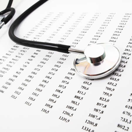 stethoscope on medical data showing medical or hospital concept