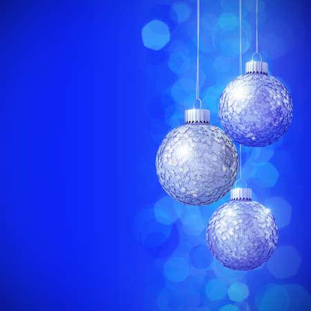 Schneeflocken Pailletten besetzte, blaue Weihnachtskugeln 3D