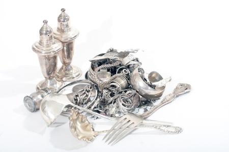 Silver scrap pile for melt
