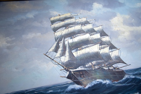 Photo for over 100 year antique painting of a sail ship - Royalty Free Image