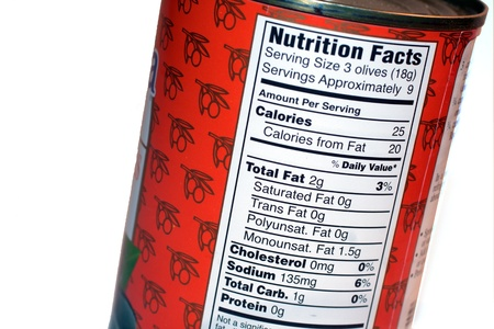 nutrition facts label on a can