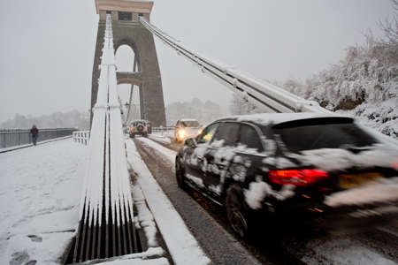 Clifton, Bristol, UK - January 18, 2013  People struggle to get to work given heavy amounts of snowfall  The worst affected area is South Wales, but there has also been significant snowfall in the South West of England