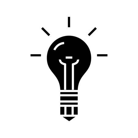 Illustration for Idea symbol black icon, concept illustration, vector flat symbol, glyph sign. - Royalty Free Image
