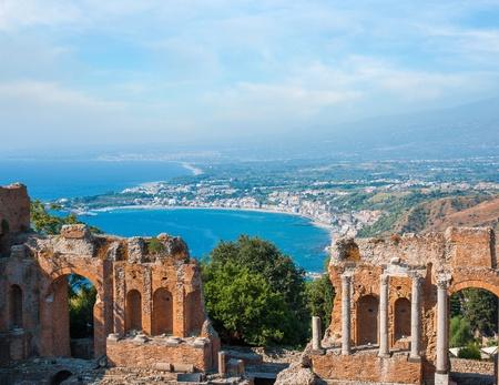 Ancient greek amphitheatre in Taormina city, Sicily island, Italy