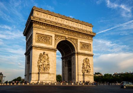 Photo pour Arch of Triumph (Arc de Triomphe) with dramatic sky, Paris, France - image libre de droit