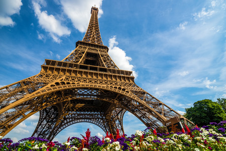 Wide shot of Eiffel Tower with dramatic sky and flowers at late evening, Paris, France
