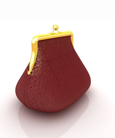 Leather purse on a white background