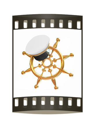Marine cap on gold marine steering wheel on a white background. The film strip
