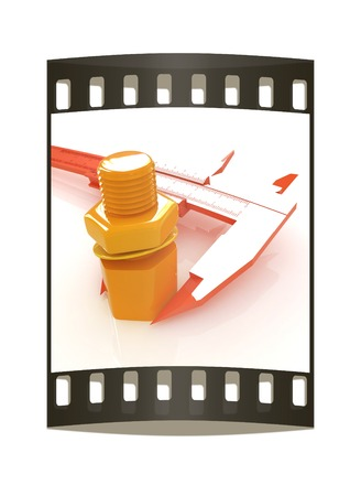 Trammel vernier on a white background measures the detail. The film strip