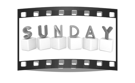 Colorful 3d letters Sunday on white cubes on a white background. The film strip