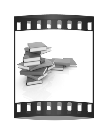 colorful real books on a white background. The film strip