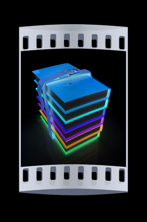 colorful real books on a black background. The film strip
