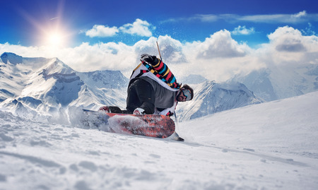 Extreme snowboarding man. Winter Scenic in the French Alps Les 2 Alpes