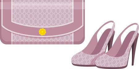 Illustration pour Female bag and shoes. - image libre de droit