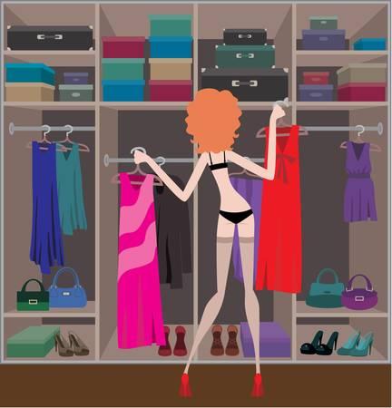 Woman in a wardrobe room